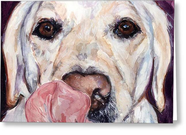 Yellow Dog Paintings Greeting Cards - Lip Smacker Greeting Card by Molly Poole