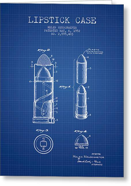 Lipstick Greeting Cards - Lipstick Case patent from 1952 - Blueprint Greeting Card by Aged Pixel