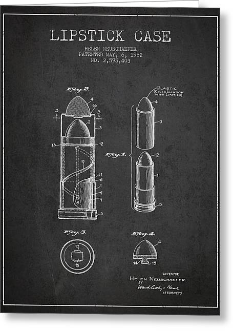 Lipstick Greeting Cards - Lipstick Case patent from 1952 - Charcoal Greeting Card by Aged Pixel