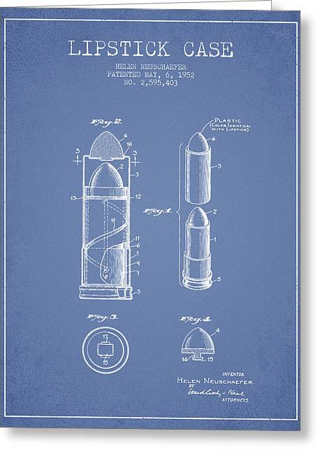 Lipstick Greeting Cards - Lipstick Case patent from 1952 - Light Blue Greeting Card by Aged Pixel