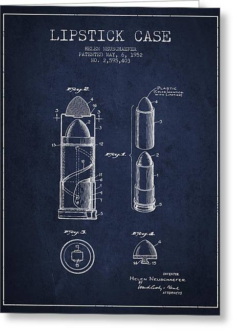 Lipstick Greeting Cards - Lipstick Case patent from 1952 - Navy Blue Greeting Card by Aged Pixel
