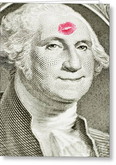 Green Forehead Greeting Cards - Lipstick kiss on one dollar bill Greeting Card by Bryan Mullennix