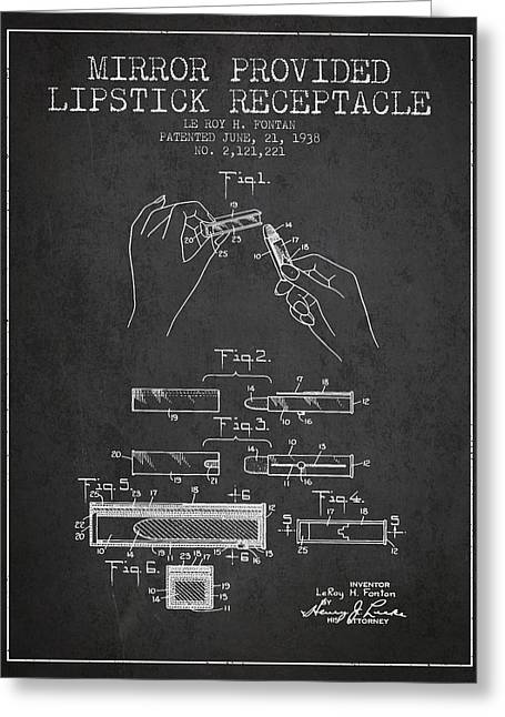 Lipstick Greeting Cards - Lipstick Mirror Patent from 1938 - Charcoal Greeting Card by Aged Pixel