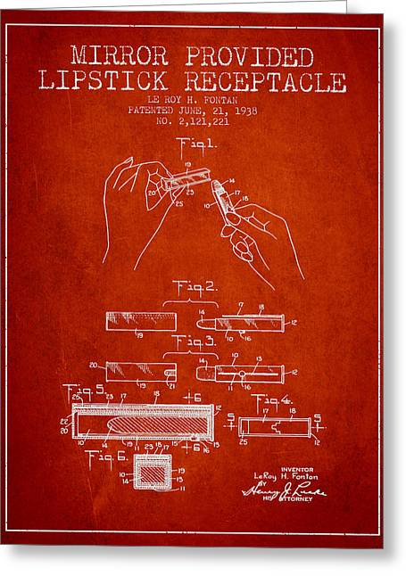 Lipstick Greeting Cards - Lipstick Mirror Patent from 1938 - Red Greeting Card by Aged Pixel