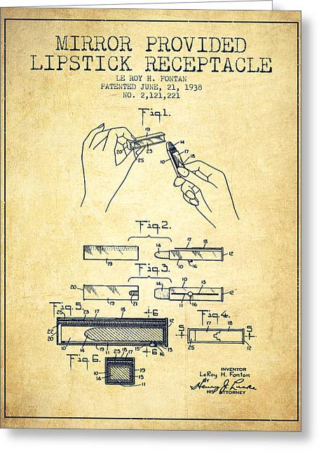 Lipstick Greeting Cards - Lipstick Mirror Patent from 1938 - Vintage Greeting Card by Aged Pixel