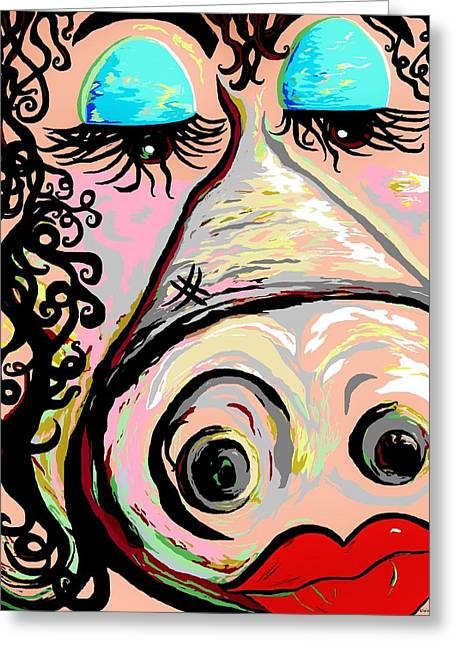 Abstract Digital Mixed Media Greeting Cards - Lipstick on a Pig Greeting Card by Eloise Schneider