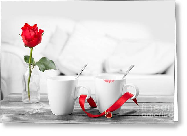 Two Coffee Cups Greeting Cards - Lipstick On Coffee Cups Greeting Card by Amanda And Christopher Elwell