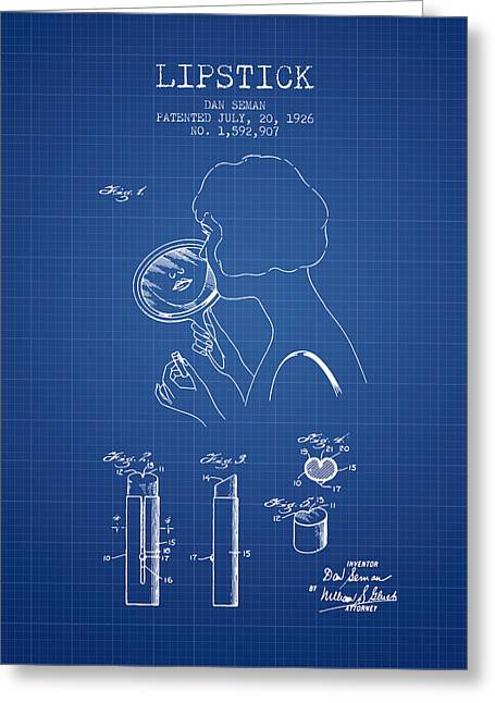 Lipstick Greeting Cards - Lipstick Patent from 1926 - Blueprint Greeting Card by Aged Pixel