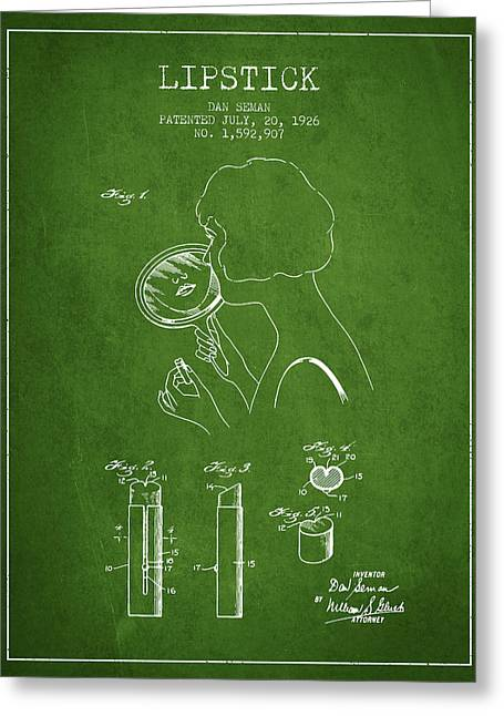 Lipstick Greeting Cards - Lipstick Patent from 1926 - Green Greeting Card by Aged Pixel