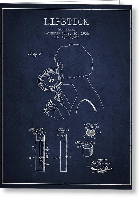 Lipstick Greeting Cards - Lipstick Patent from 1926 - Navy Blue Greeting Card by Aged Pixel