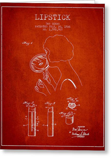 Lipstick Greeting Cards - Lipstick Patent from 1926 - Red Greeting Card by Aged Pixel