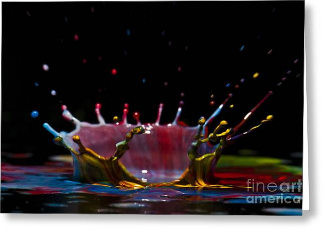 Fluorescent Yellow Greeting Cards - Liquid Coronet  Greeting Card by Guy Viner