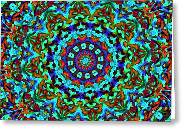 Liquid Dream Kaleidoscope Greeting Card by Alec Drake