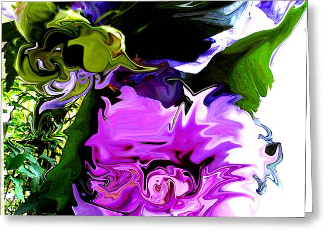 Floral Digital Art Greeting Cards - Liquid Flower Duvet Greeting Card by Gardening Perfection