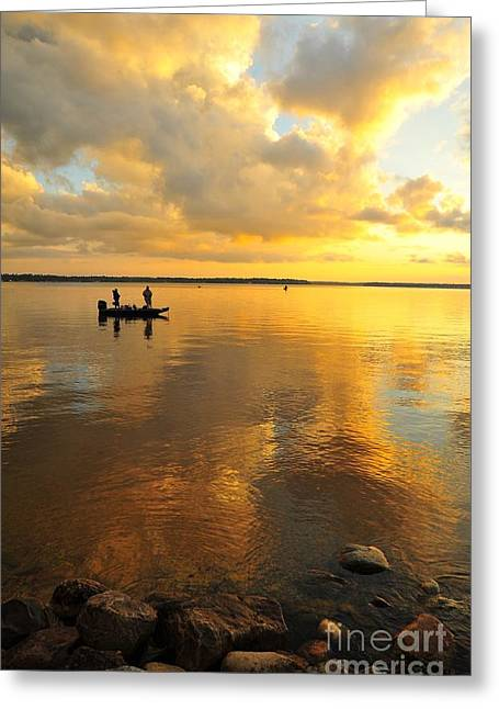 Skyscape Greeting Cards - Liquid Gold 2 Greeting Card by Terri Gostola