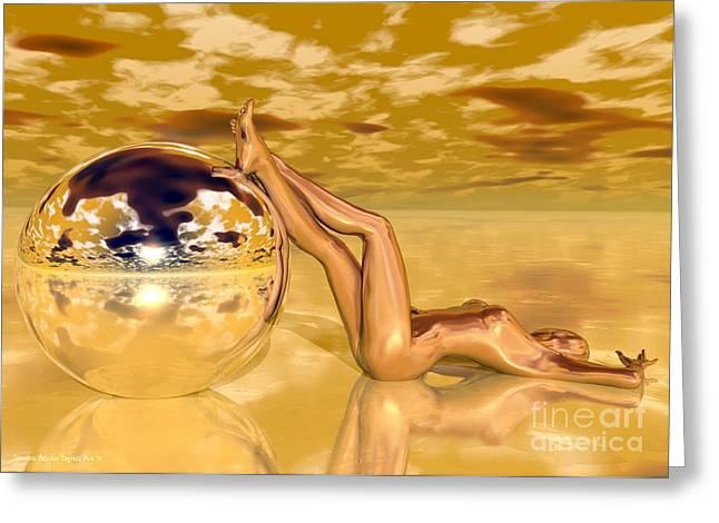 Liquid Gold Greeting Card by Sandra Bauser Digital Art