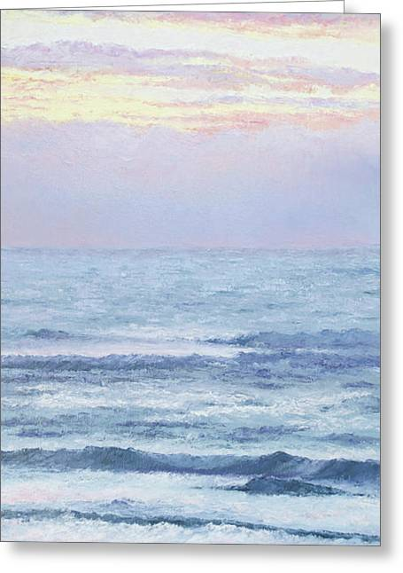 Beach At Night Greeting Cards - Liquid gold sky over ocean Greeting Card by Jan Matson