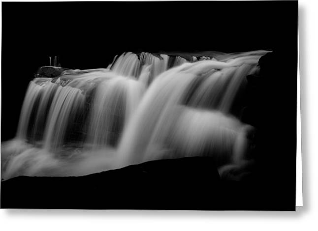 Black And White Waterfall Greeting Cards - Liquid Light 2 Greeting Card by Shane Holsclaw