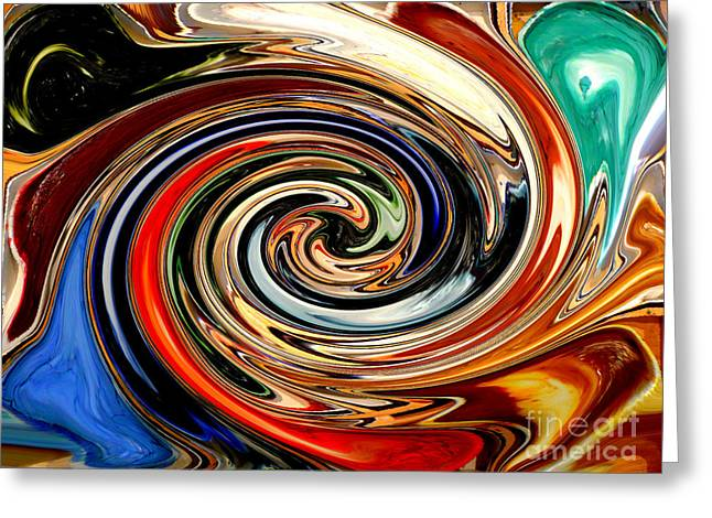 Interesting Design Greeting Cards - Liquid Paint Abstract Greeting Card by Carol Groenen