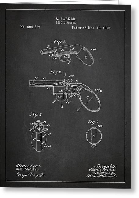 Pistol Greeting Cards - Liquid Pistol Patent Greeting Card by Aged Pixel