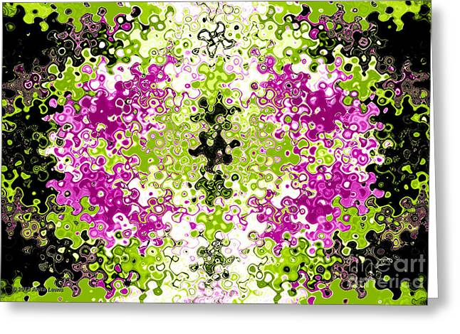 Kiwi Digital Greeting Cards - Liquid Purple Kiwi Greeting Card by Anita Lewis