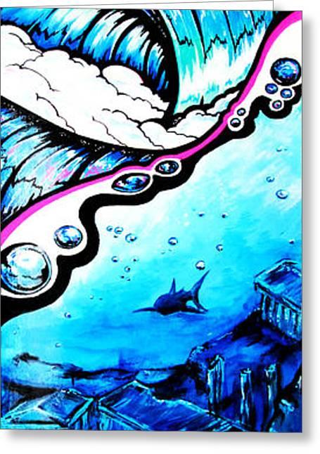 Surfing Art Greeting Cards - Liquid Skies Greeting Card by SaxonLynn Arts