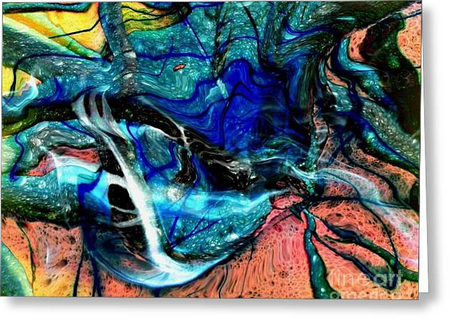 Abstract Digital Drawings Greeting Cards - Liquidity Greeting Card by David Neace