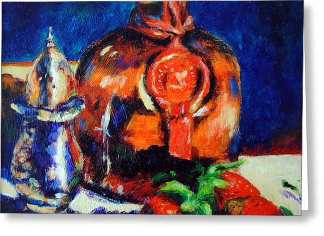 Toelle Hovan Greeting Cards - Liquor and Strawberries Greeting Card by Toelle Hovan