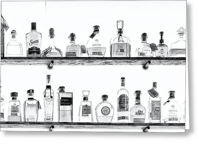 Abstract Shapes Greeting Cards - Liquor Bottles - Black and White Greeting Card by Kathleen K Parker