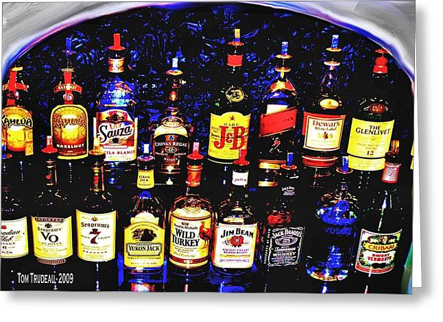 Rum Mixed Media Greeting Cards - Liquor Cabinet  Greeting Card by Tommi Trudeau