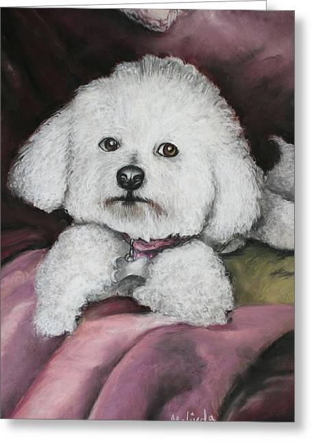 Small Dog Pastels Greeting Cards - Lisa Bichon Pastel Greeting Card by Melinda Saminski