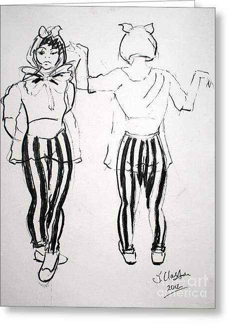 Figure Drawing Greeting Cards - Lisa standing Greeting Card by Joanne Claxton
