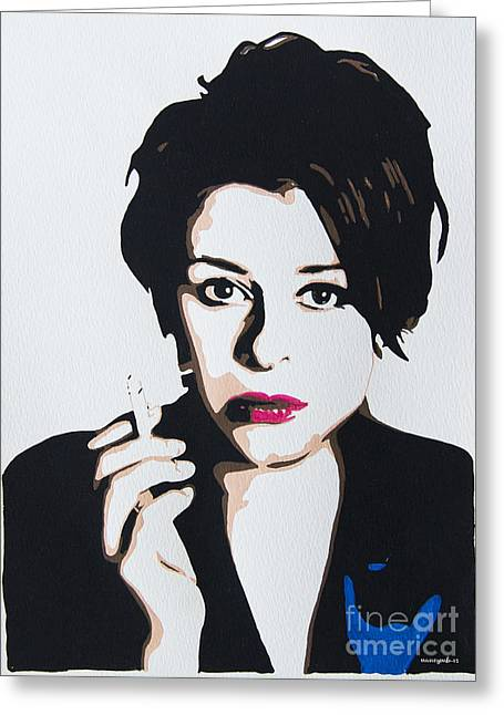 Stansfield Greeting Cards - Lisa Stansfield Greeting Card by Nancy Mergybrower