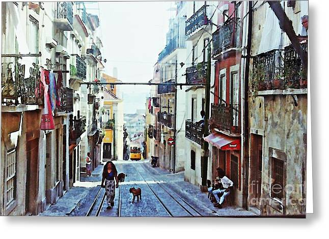 Lisboa Tram Route Greeting Card by Sarah Loft