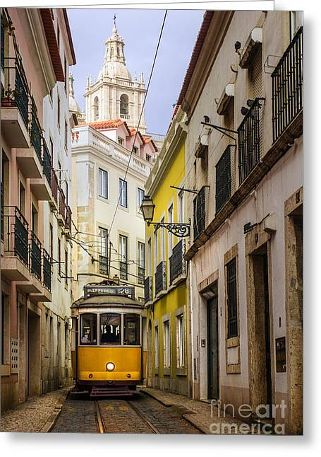 Retro Antique Photographs Greeting Cards - Lisbon Tram Greeting Card by Carlos Caetano