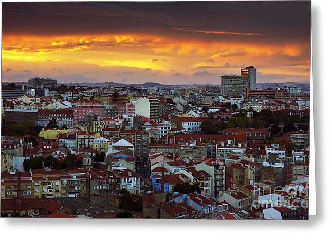 Lisbon at Sunset Greeting Card by Carlos Caetano