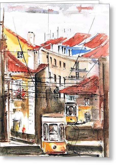 Prague Paintings Greeting Cards - Lisbon City Greeting Card by Turdean Mircea