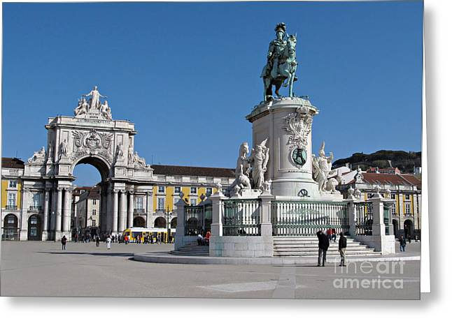 Triumphant Greeting Cards - Lisbon Commerce Square Greeting Card by Kiril Stanchev