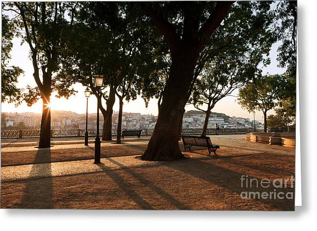 Pedro Greeting Cards - Lisbon Dawn Greeting Card by Rod McLean