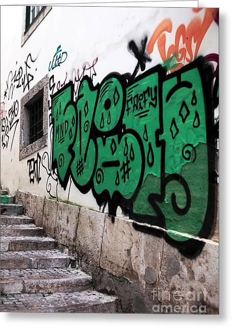 Graffiti Steps Greeting Cards - Lisbon Graffiti II Greeting Card by John Rizzuto