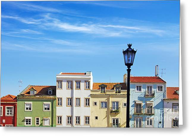 Street Lamps Greeting Cards - Lisbon Houses Greeting Card by Carlos Caetano