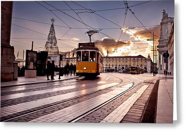 Tram Photographs Greeting Cards - Lisbon light Greeting Card by Jorge Maia