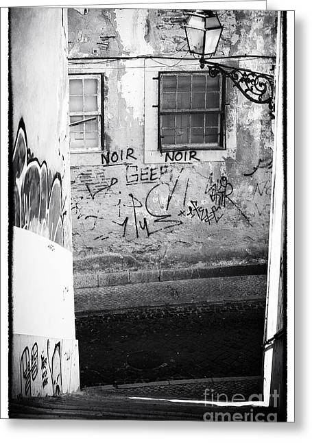 Graffiti Steps Greeting Cards - Lisbon Noir Greeting Card by John Rizzuto