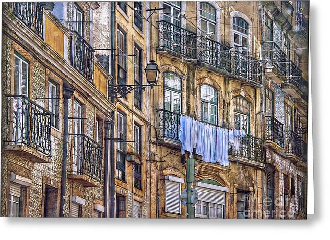 Hauptstadt Greeting Cards - Lisbon Street Face Greeting Card by Hanny Heim