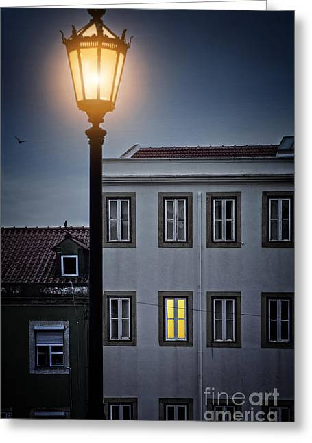 Lisbon Street Lamp Greeting Card by Carlos Caetano