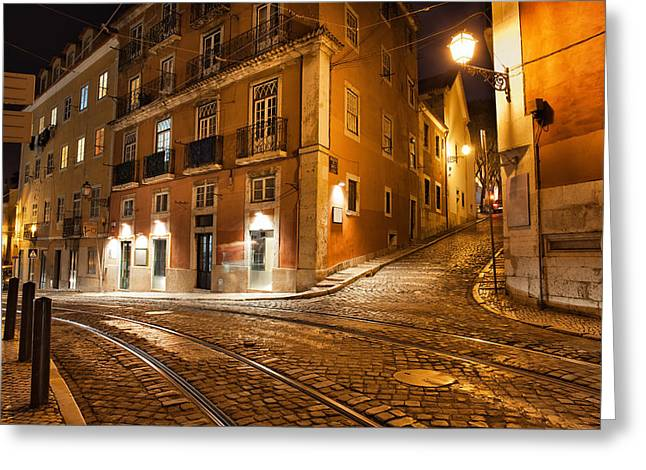 Empty Building Greeting Cards - Lisbon Streets at Night in Portugal Greeting Card by Artur Bogacki