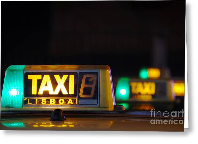 Fares Greeting Cards - Lisbon Taxi Sign Greeting Card by Carlos Caetano
