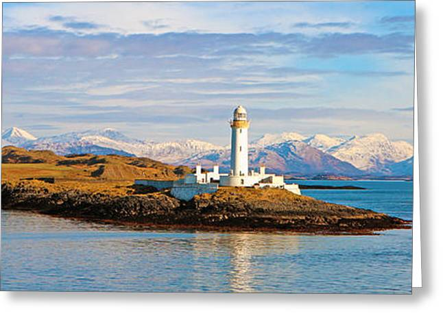 Snow Capped Greeting Cards - Lismore Lighthouse Greeting Card by Lynne Sutherland