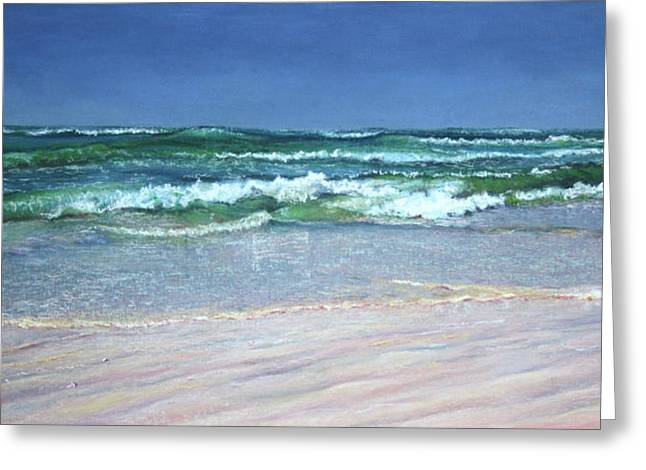 Windy Pastels Greeting Cards - Listen To The Waves Greeting Card by Kathy Dolan