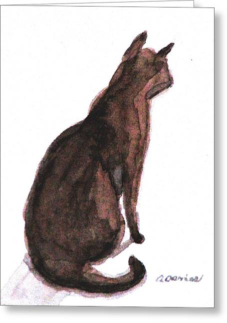 Moggy Greeting Cards - Listening Greeting Card by Angela Davies